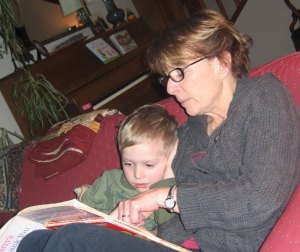 Owen Casteel Somers and his Grandma, Pat 'Crunch-Crunch' Dudley, enjoying a bedtime story