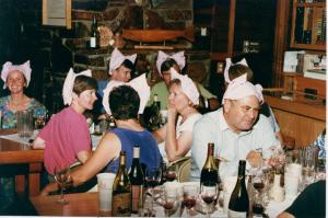 Steamboat Conference at play, 1999.  How many famous Pinot noir producers can you spot?  Terry will have to explain why the all have napkin ears on their heads.
