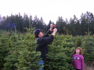 Kate and Baylie selecting Christmas trees for harvest